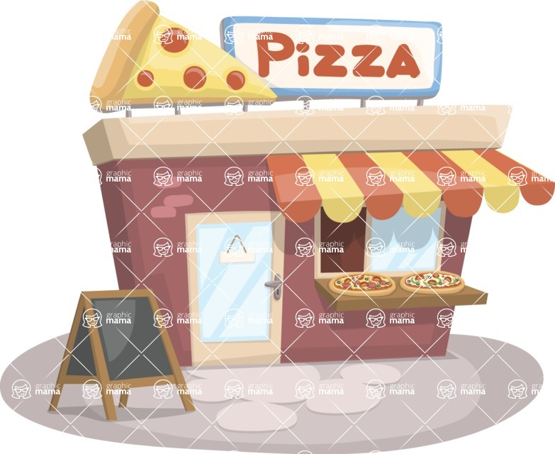 Food vector pack - menu, restaurant, meal, cook, chef, backgrounds, scenes, editable graphics, illustrations, png files for download available - Pizza Place
