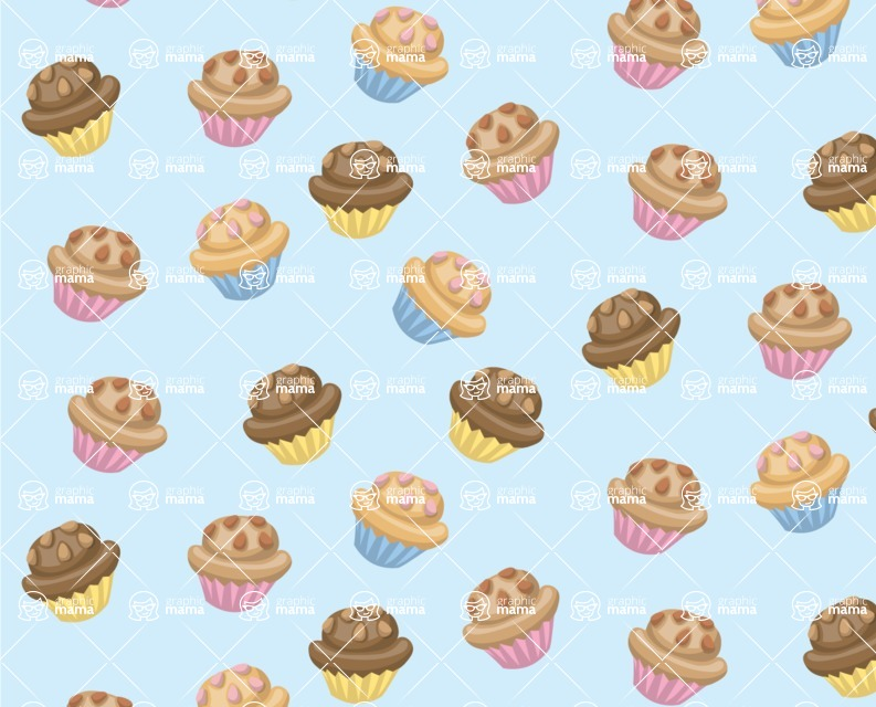 Food vector pack - menu, restaurant, meal, cook, chef, backgrounds, scenes, editable graphics, illustrations, png files for download available - Muffins Pattern 2