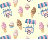 Food vector pack - menu, restaurant, meal, cook, chef, backgrounds, scenes, editable graphics, illustrations, png files for download available - Ice Cream Pattern