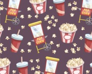 Food vector pack - menu, restaurant, meal, cook, chef, backgrounds, scenes, editable graphics, illustrations, png files for download available - Pop Corn Pattern