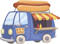 Food vector pack - menu, restaurant, meal, cook, chef, backgrounds, scenes, editable graphics, illustrations, png files for download available - Hot Dog Truck