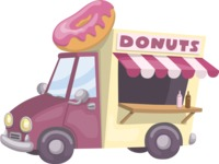 Food vector pack - menu, restaurant, meal, cook, chef, backgrounds, scenes, editable graphics, illustrations, png files for download available - Donut Truck