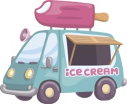 Food vector pack - menu, restaurant, meal, cook, chef, backgrounds, scenes, editable graphics, illustrations, png files for download available - Ice Cream Truck