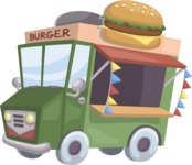 Food vector pack - menu, restaurant, meal, cook, chef, backgrounds, scenes, editable graphics, illustrations, png files for download available - Burger Truck