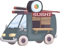 Food vector pack - menu, restaurant, meal, cook, chef, backgrounds, scenes, editable graphics, illustrations, png files for download available - Sushi Truck
