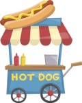 Food vector pack - menu, restaurant, meal, cook, chef, backgrounds, scenes, editable graphics, illustrations, png files for download available - Hot Dog Cart