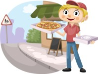 Food vector pack - menu, restaurant, meal, cook, chef, backgrounds, scenes, editable graphics, illustrations, png files for download available - Pizza Boy in the Street