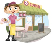 Food vector pack - menu, restaurant, meal, cook, chef, backgrounds, scenes, editable graphics, illustrations, png files for download available - Waiter in Front of a Coffee Shop