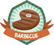 Food vector pack - menu, restaurant, meal, cook, chef, backgrounds, scenes, editable graphics, illustrations, png files for download available - Barbecue Steak Badge