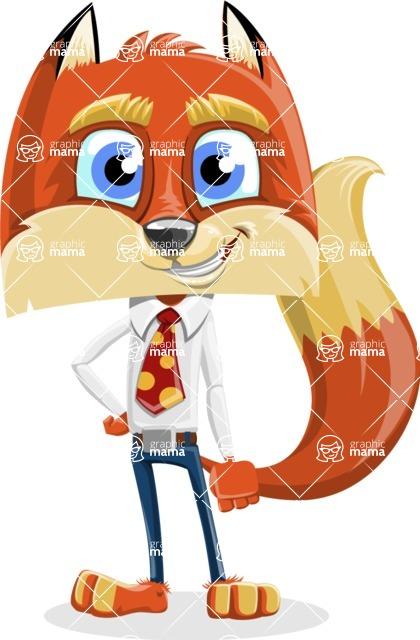 Fox with a Tie Cartoon Vector Character AKA Luke Foxman - Normal