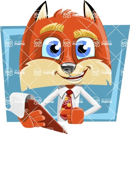 Fox with a Tie Cartoon Vector Character AKA Luke Foxman - Shape 1