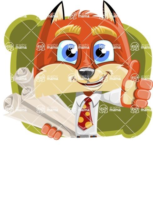 Fox with a Tie Cartoon Vector Character AKA Luke Foxman - Shape 4