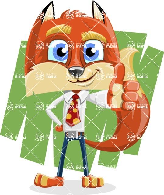 Fox with a Tie Cartoon Vector Character AKA Luke Foxman - Shape 7