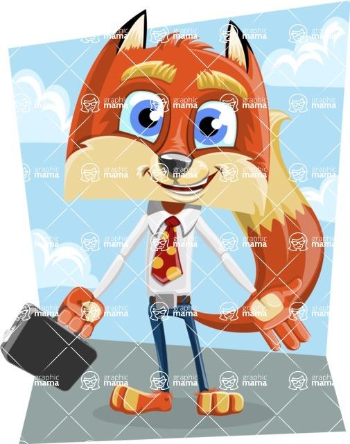 Fox with a Tie Cartoon Vector Character AKA Luke Foxman - Shape 9
