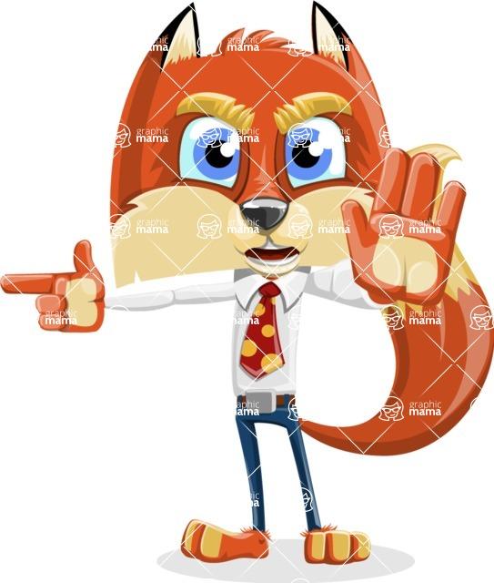 Fox with a Tie Cartoon Vector Character AKA Luke Foxman - Direct Attention