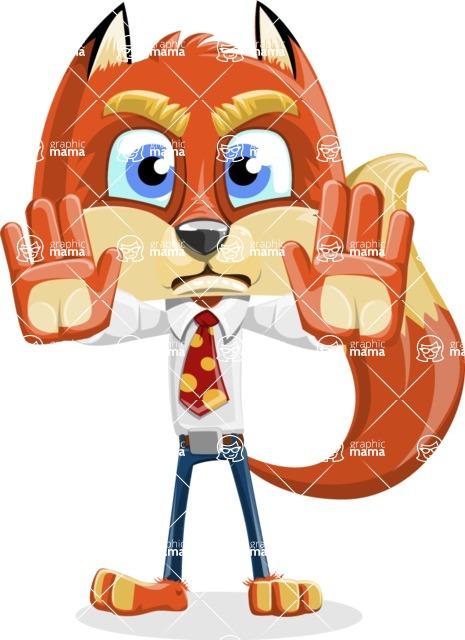 Fox with a Tie Cartoon Vector Character AKA Luke Foxman - Stop 2