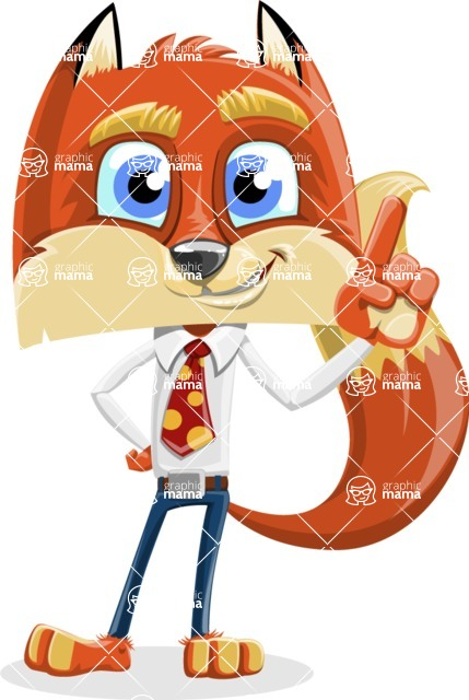 Fox with a Tie Cartoon Vector Character AKA Luke Foxman - Attention