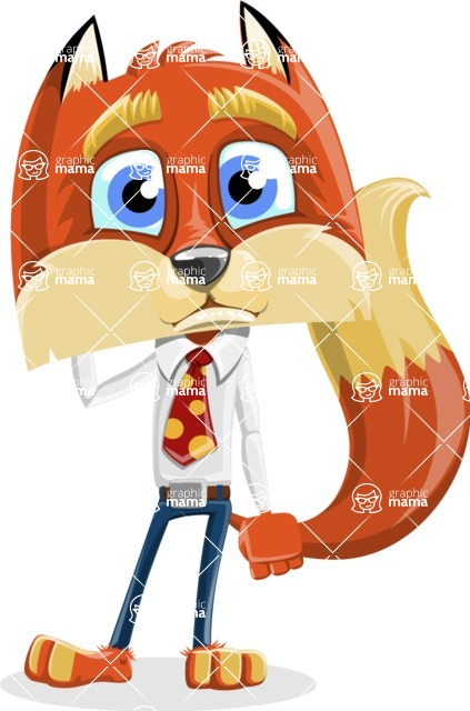 Fox with a Tie Cartoon Vector Character AKA Luke Foxman - Confused