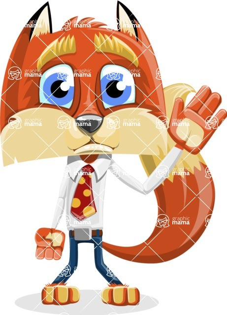 Fox with a Tie Cartoon Vector Character AKA Luke Foxman - Goodbye
