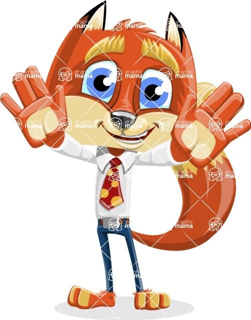 Fox with a Tie Cartoon Vector Character AKA Luke Foxman - Hello
