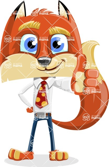 Fox with a Tie Cartoon Vector Character AKA Luke Foxman - Thumbs Up