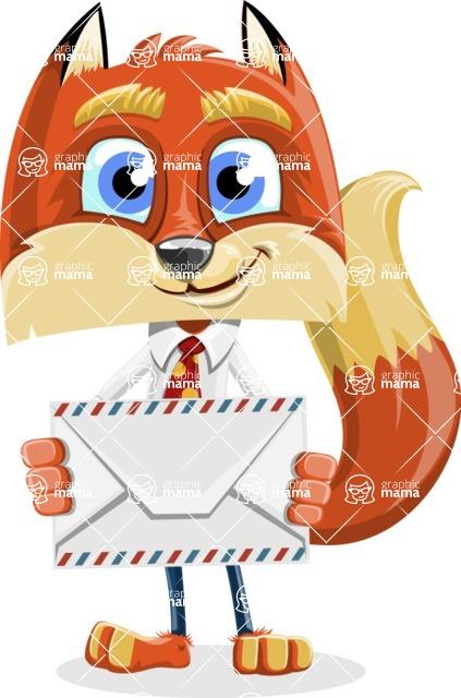 Fox with a Tie Cartoon Vector Character AKA Luke Foxman - Letter