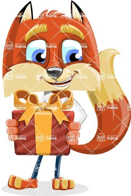 Fox with a Tie Cartoon Vector Character AKA Luke Foxman - Gift