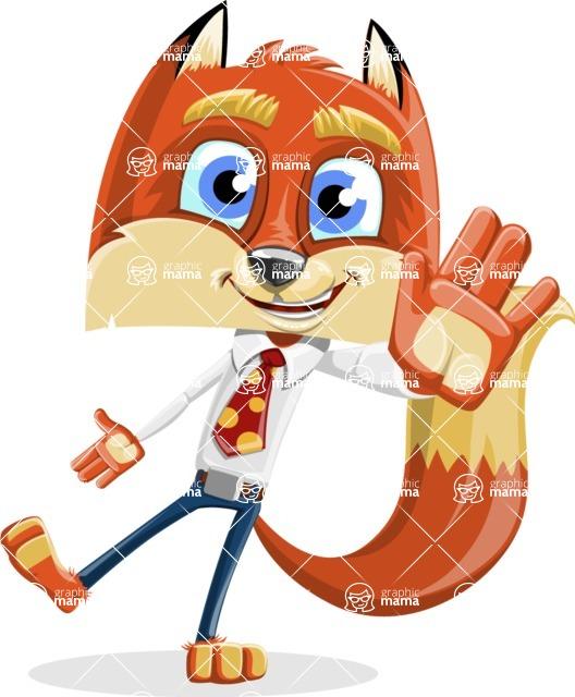 Fox with a Tie Cartoon Vector Character AKA Luke Foxman - Wave