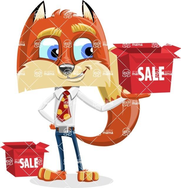Fox with a Tie Cartoon Vector Character AKA Luke Foxman - Sale