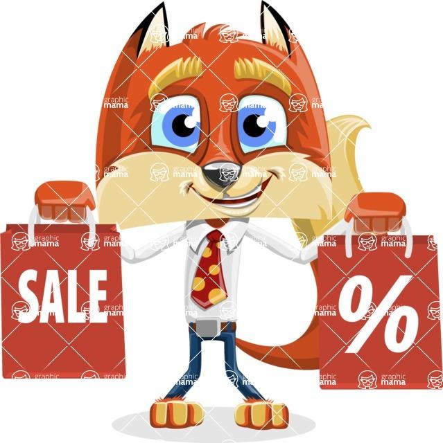 Fox with a Tie Cartoon Vector Character AKA Luke Foxman - Sale 2