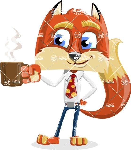 Fox with a Tie Cartoon Vector Character AKA Luke Foxman - Coffee