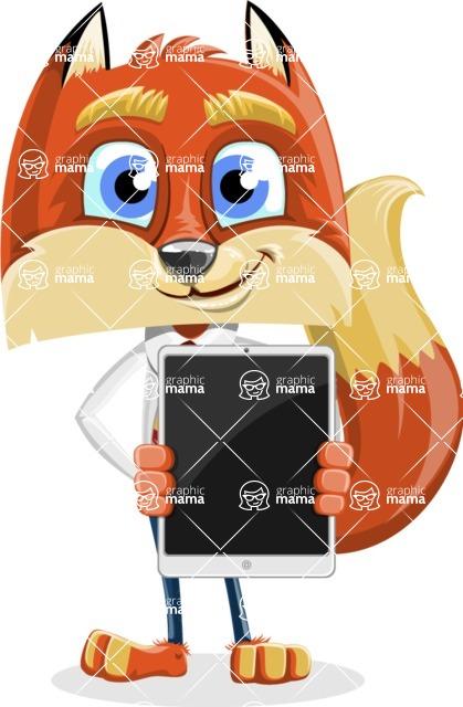 Fox with a Tie Cartoon Vector Character AKA Luke Foxman - iPad 1