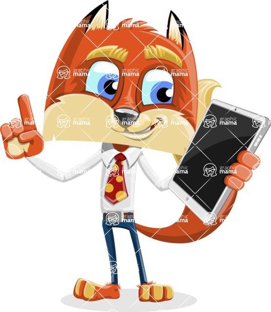 Fox with a Tie Cartoon Vector Character AKA Luke Foxman - iPad 3