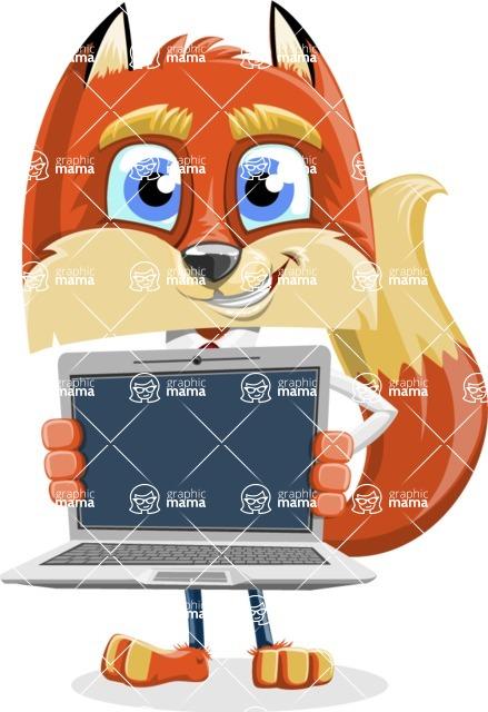 Fox with a Tie Cartoon Vector Character AKA Luke Foxman - Laptop 2