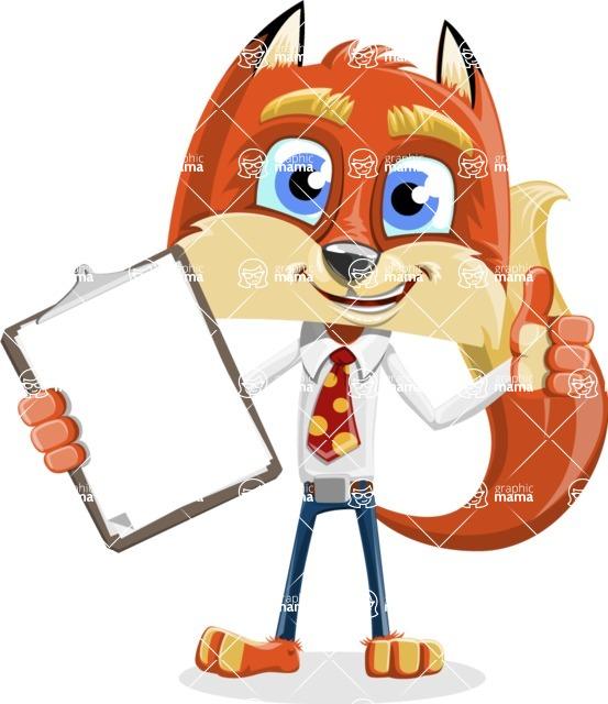 Fox with a Tie Cartoon Vector Character AKA Luke Foxman - Notepad 1