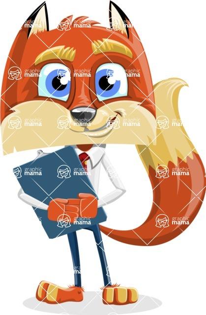Fox with a Tie Cartoon Vector Character AKA Luke Foxman - Notepad 2