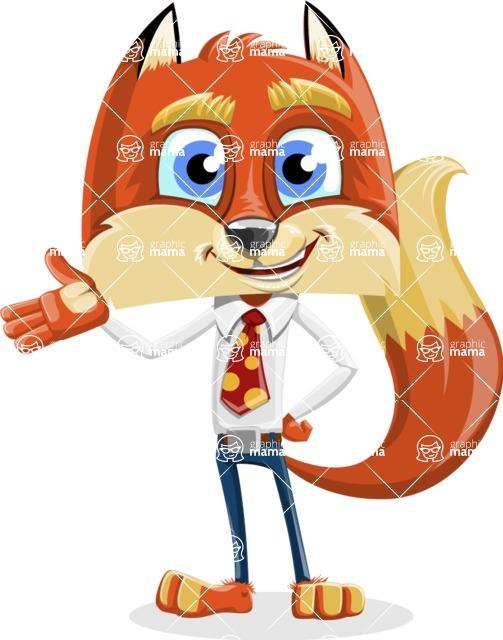 Fox with a Tie Cartoon Vector Character AKA Luke Foxman - Showcase 2