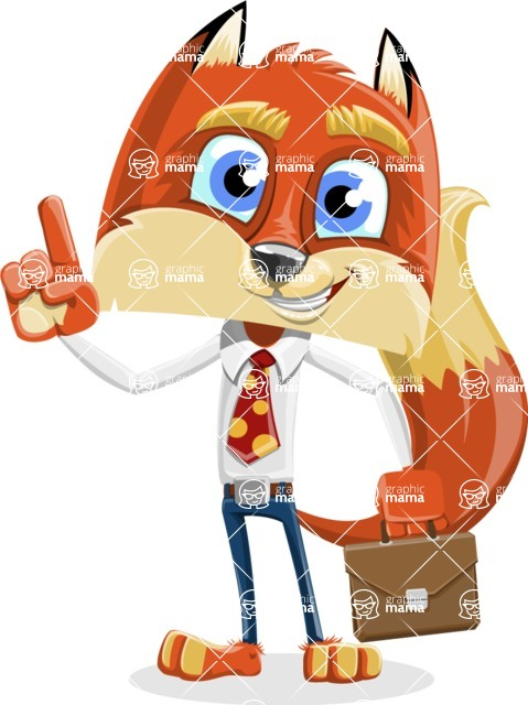 Fox with a Tie Cartoon Vector Character AKA Luke Foxman - Briefcase 2