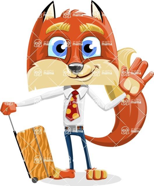 Fox with a Tie Cartoon Vector Character AKA Luke Foxman - Travel 1
