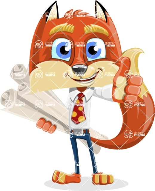 Fox with a Tie Cartoon Vector Character AKA Luke Foxman - Plans