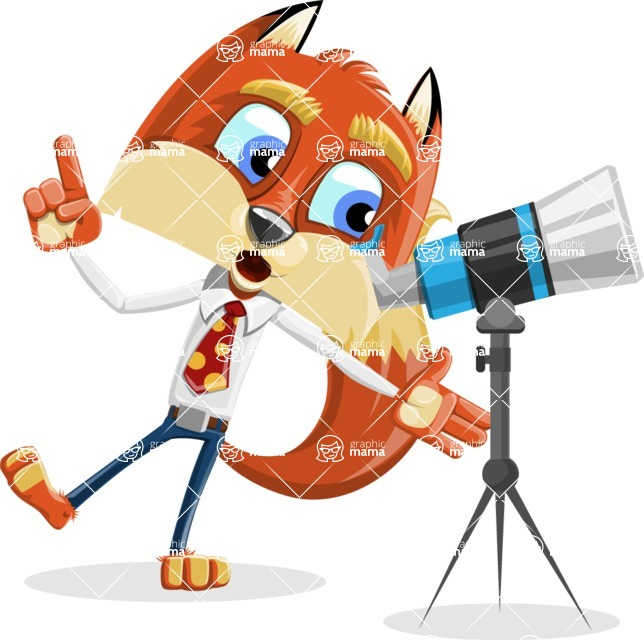 Fox with a Tie Cartoon Vector Character AKA Luke Foxman - Telescope