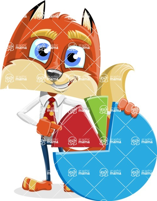 Fox with a Tie Cartoon Vector Character AKA Luke Foxman - Chart