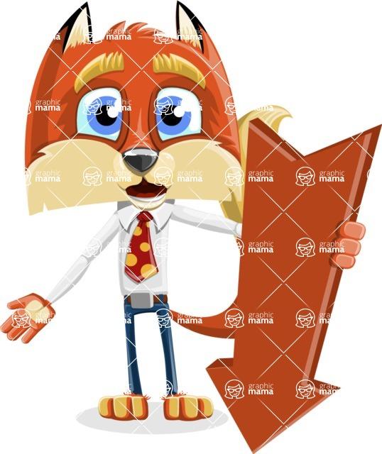 Fox with a Tie Cartoon Vector Character AKA Luke Foxman - Pointer 3