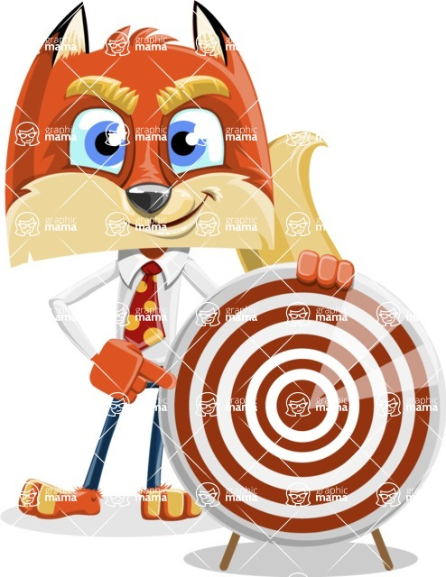 Fox with a Tie Cartoon Vector Character AKA Luke Foxman - Target