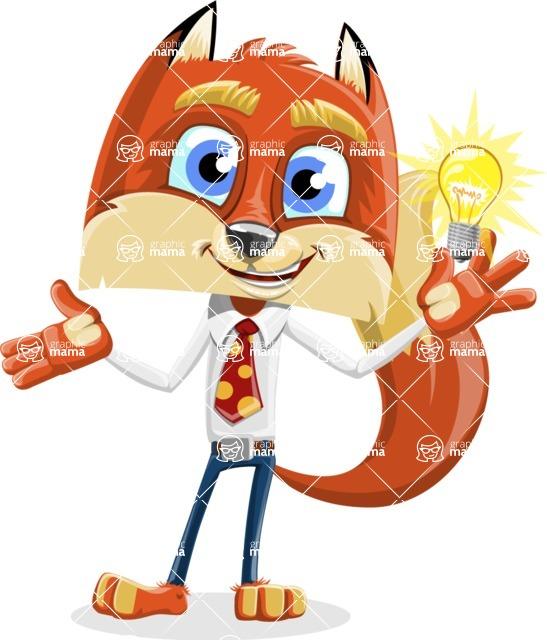 Fox with a Tie Cartoon Vector Character AKA Luke Foxman - Idea 1