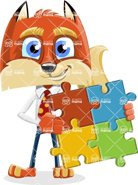 Fox with a Tie Cartoon Vector Character AKA Luke Foxman - Puzzle