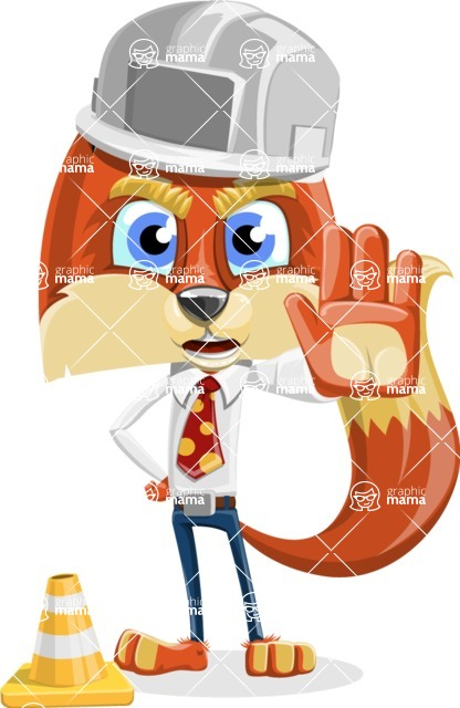Fox with a Tie Cartoon Vector Character AKA Luke Foxman - Under Construction 1