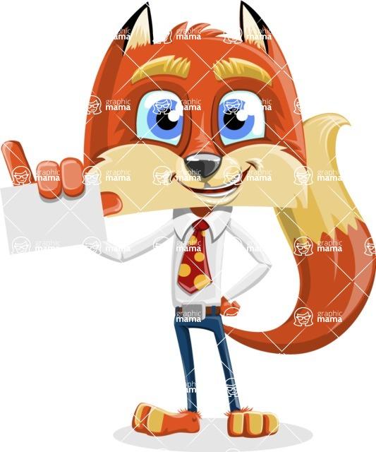 Fox with a Tie Cartoon Vector Character AKA Luke Foxman - Sign 1