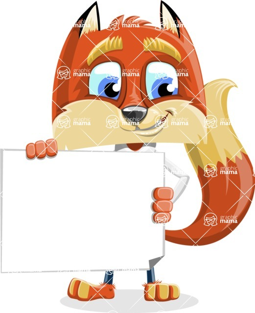 Fox with a Tie Cartoon Vector Character AKA Luke Foxman - Sign 3