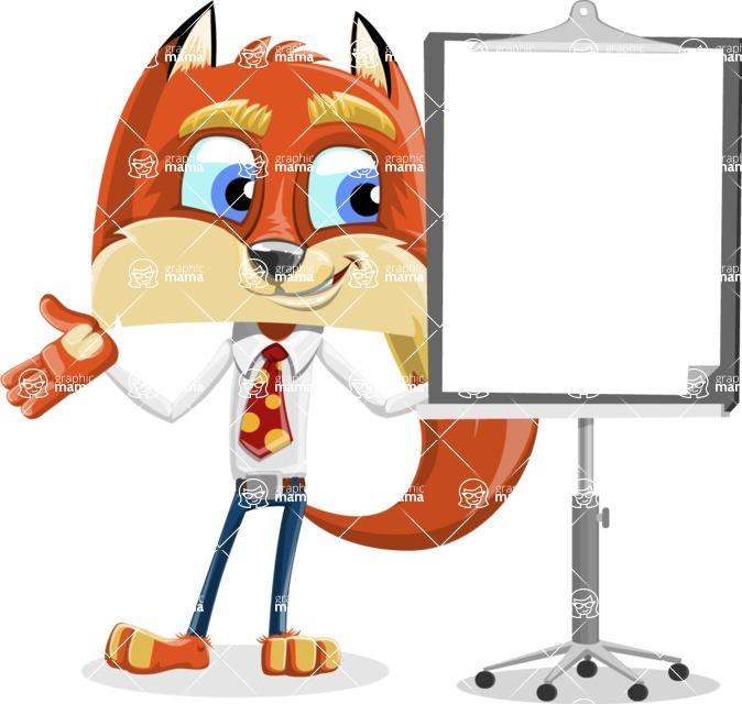 Fox with a Tie Cartoon Vector Character AKA Luke Foxman - Presentation 1